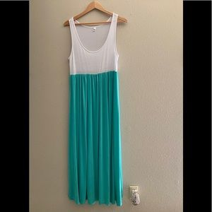 White and Turquoise maxi dress